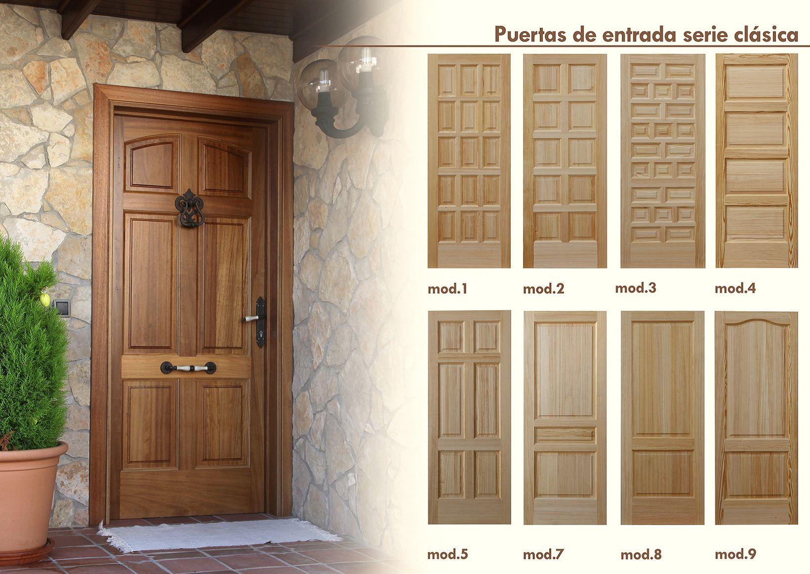 Puertas de entrada cl sicas productos de puertas miret for Puertas en madera para exteriores