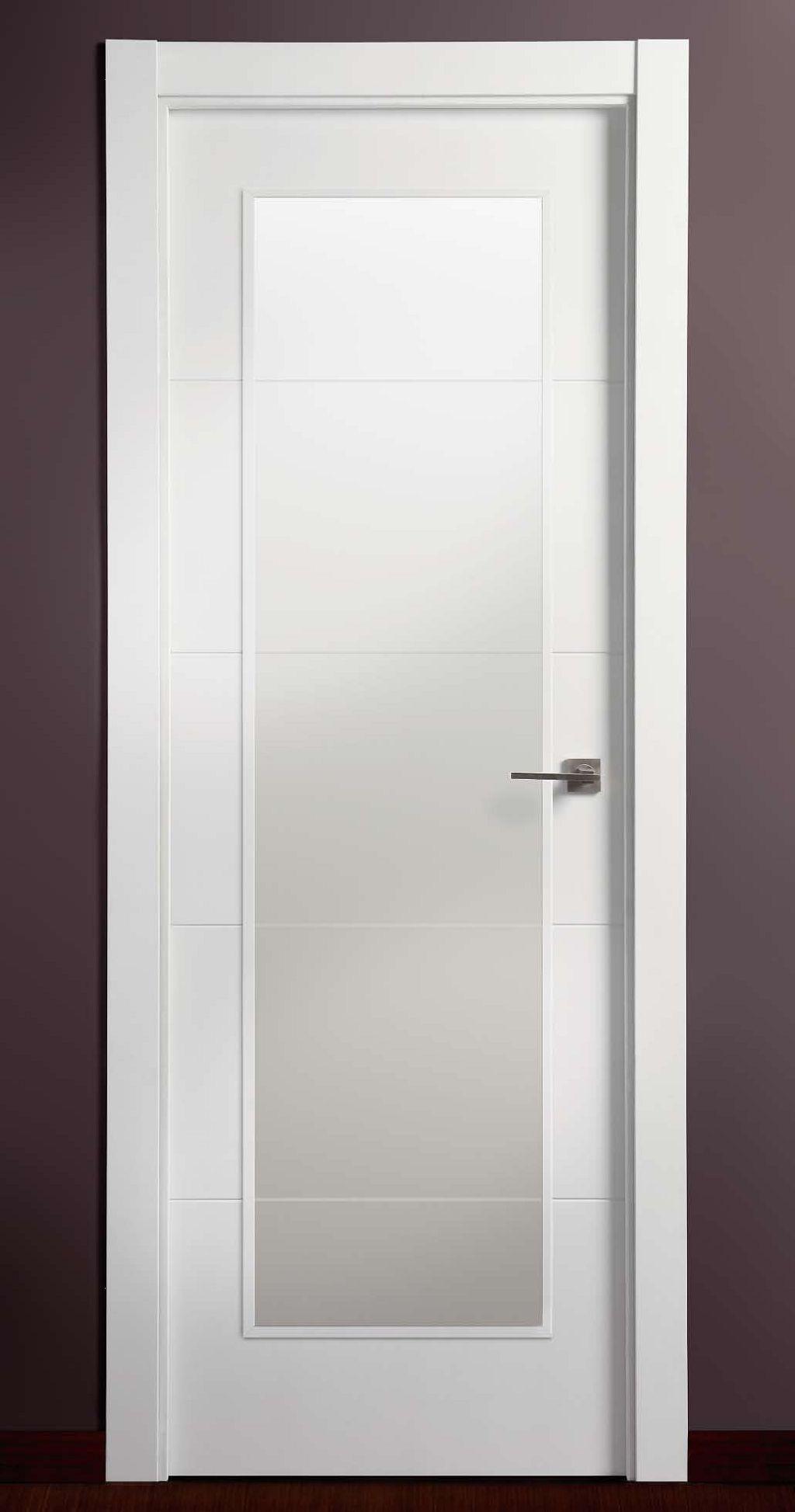 Vidriera lacada en blanco 4 ranuras productos de puertas - Puerta lacada en blanco ...