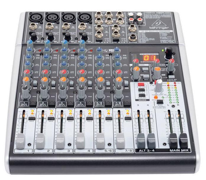 Mesa compacta Behringer Xenyx X1204 usb efectos 4 canales mono 2 stereo 2 auxiliares
