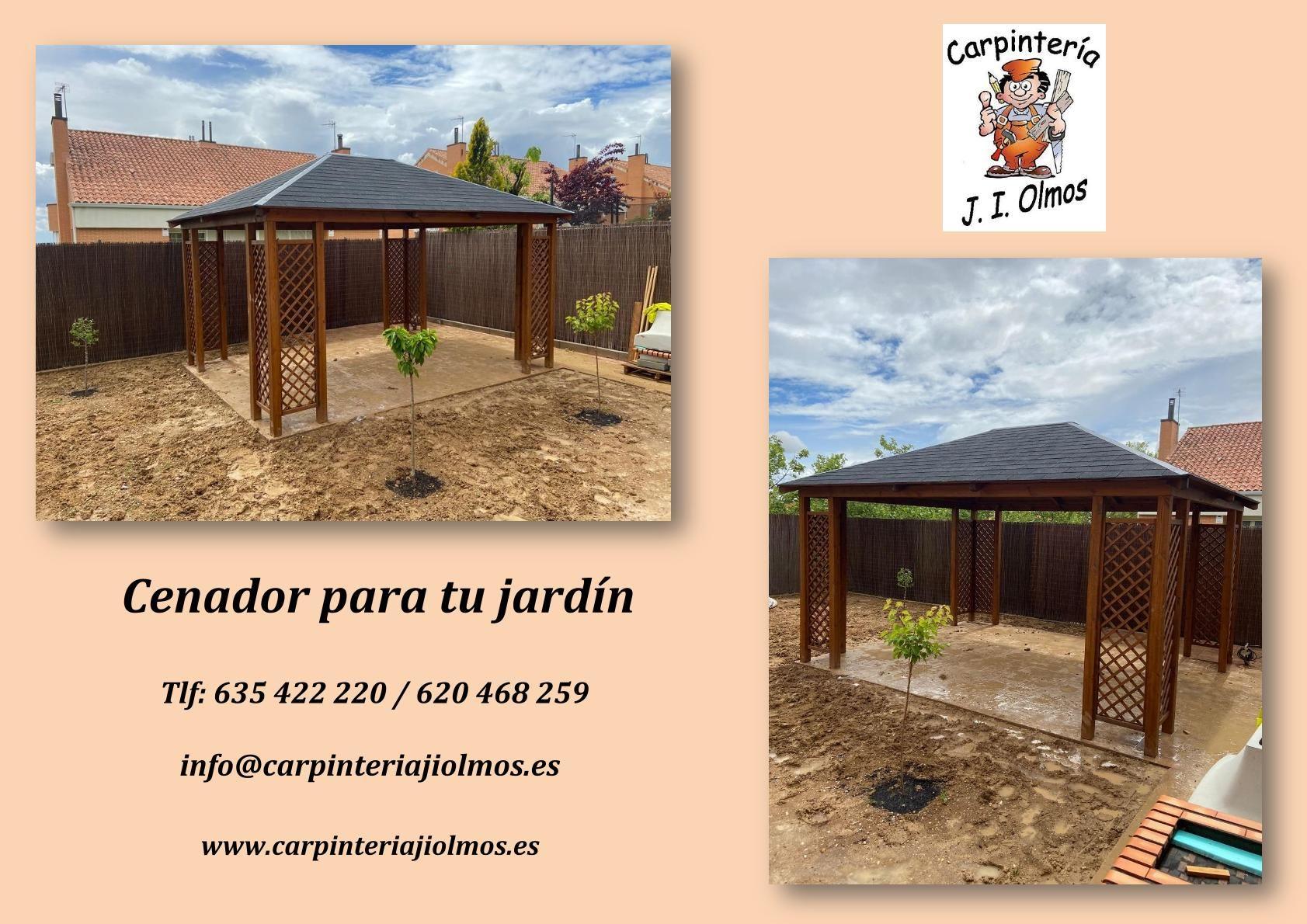 Instalación de cenador de madera en Cobeña
