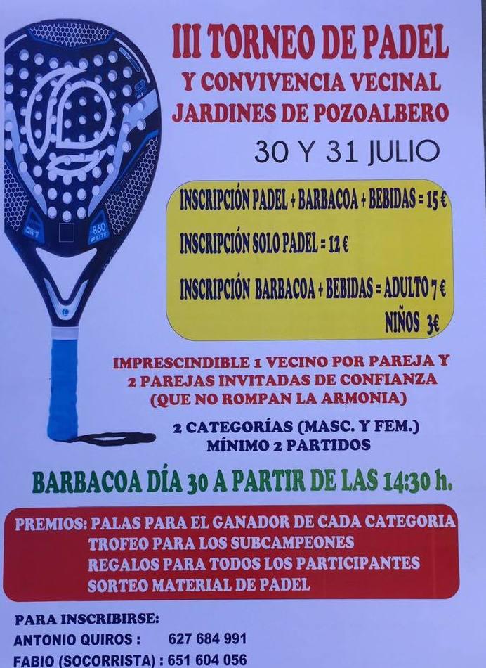 III Torneo de Pádel Jardines de Pozoalbero