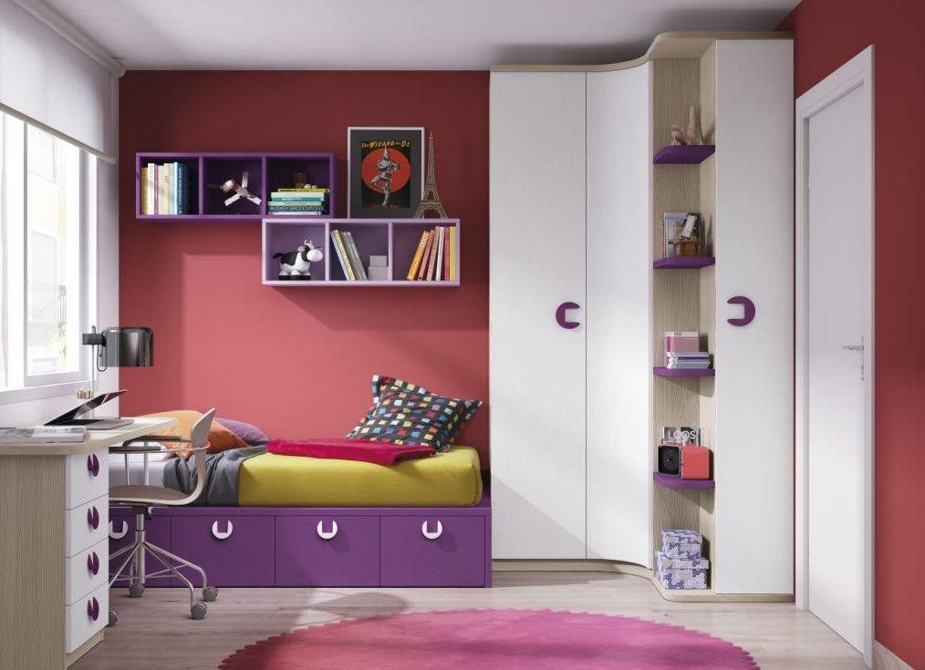 Dormitorio juvenil con armario en esquina