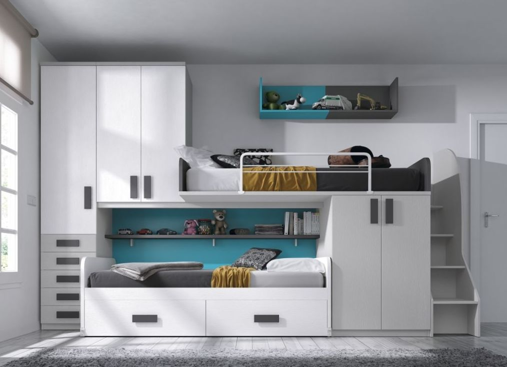 Dormitorio juvenil blanco con dos camas