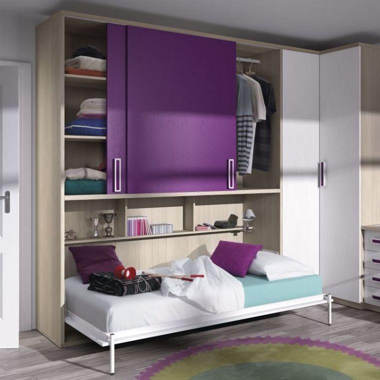Dormitorio juvenil en madera, blanco y morado