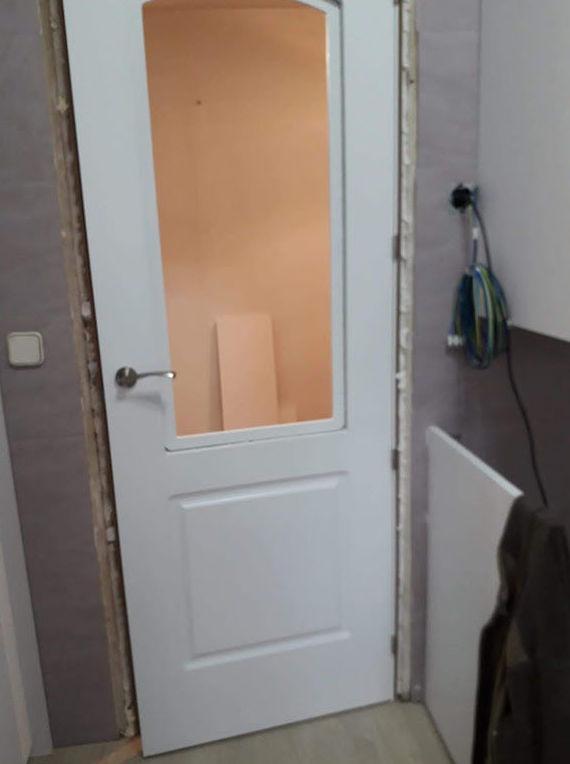 puertas de paso lacada blanca, estilo clasico con vitrina
