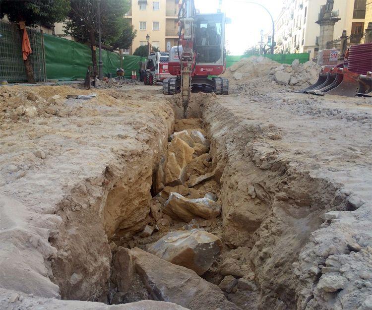 Trabajos de excavaciones en Granada