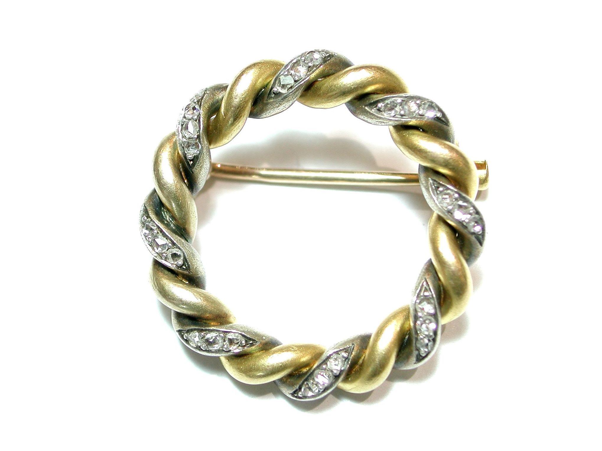 Broche circular de oro de 18k y plata con diamantes. S.XIX: Catálogo de Antigua Joyeros