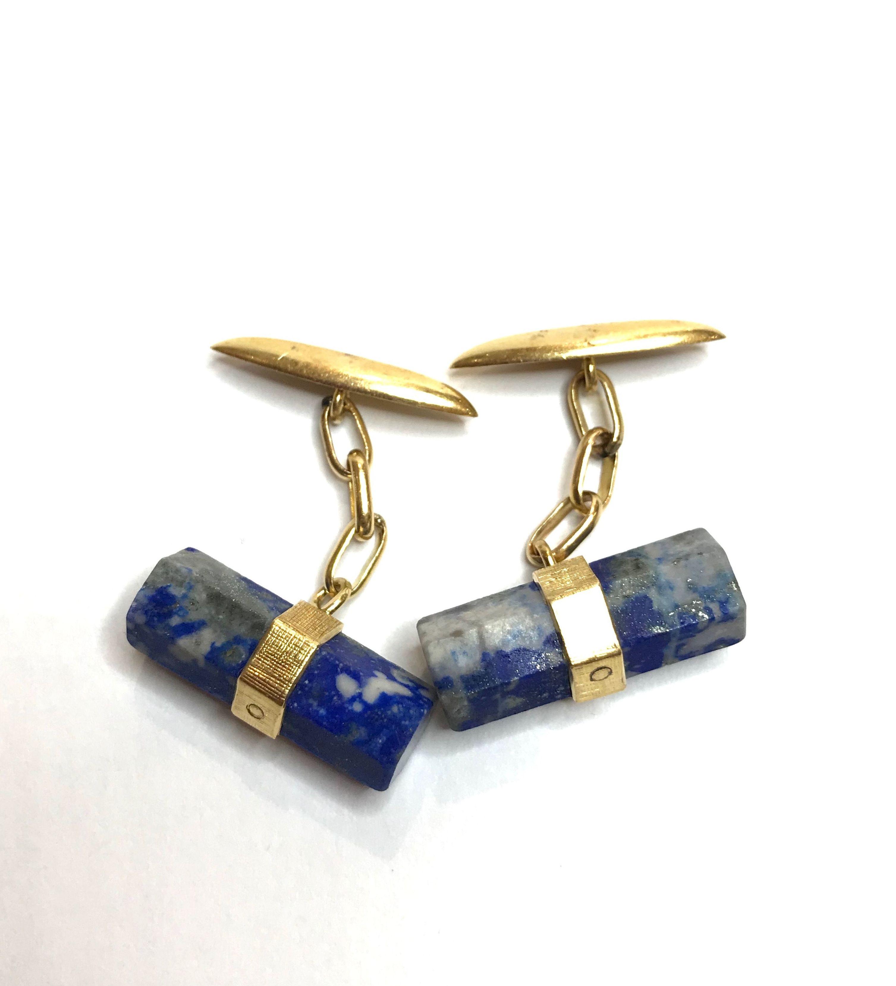 Gemelos de lapis lázuli y oro 18kt.: Catálogo de Antigua Joyeros