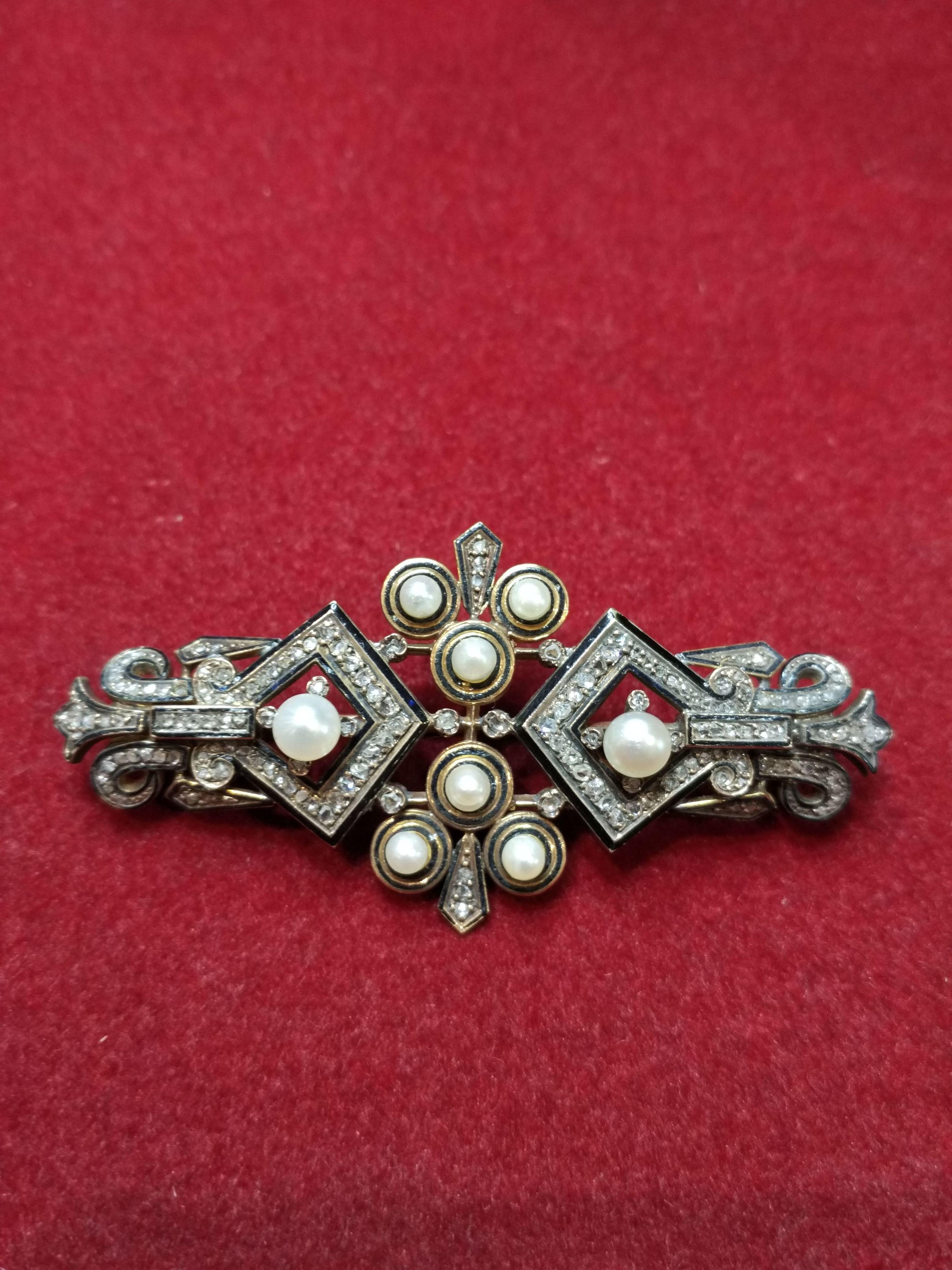 Broche de oro de 18k con esmalte, diamantes y perlas. Segunda mitad S.XIX.: Catálogo de Antigua Joyeros