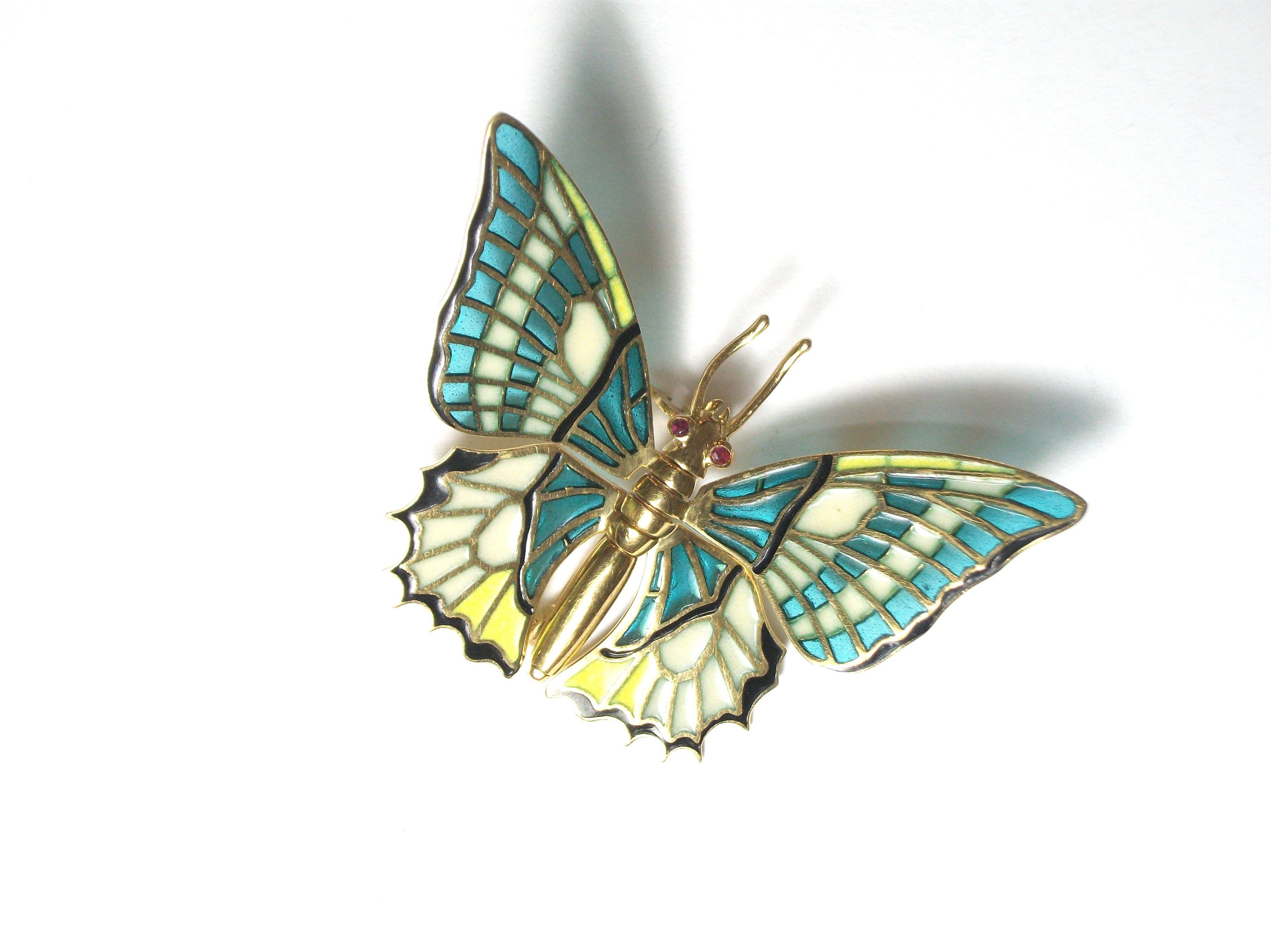 Broche en forma de mariposa de oro y esmalte. S.XX.: Catálogo de Antigua Joyeros