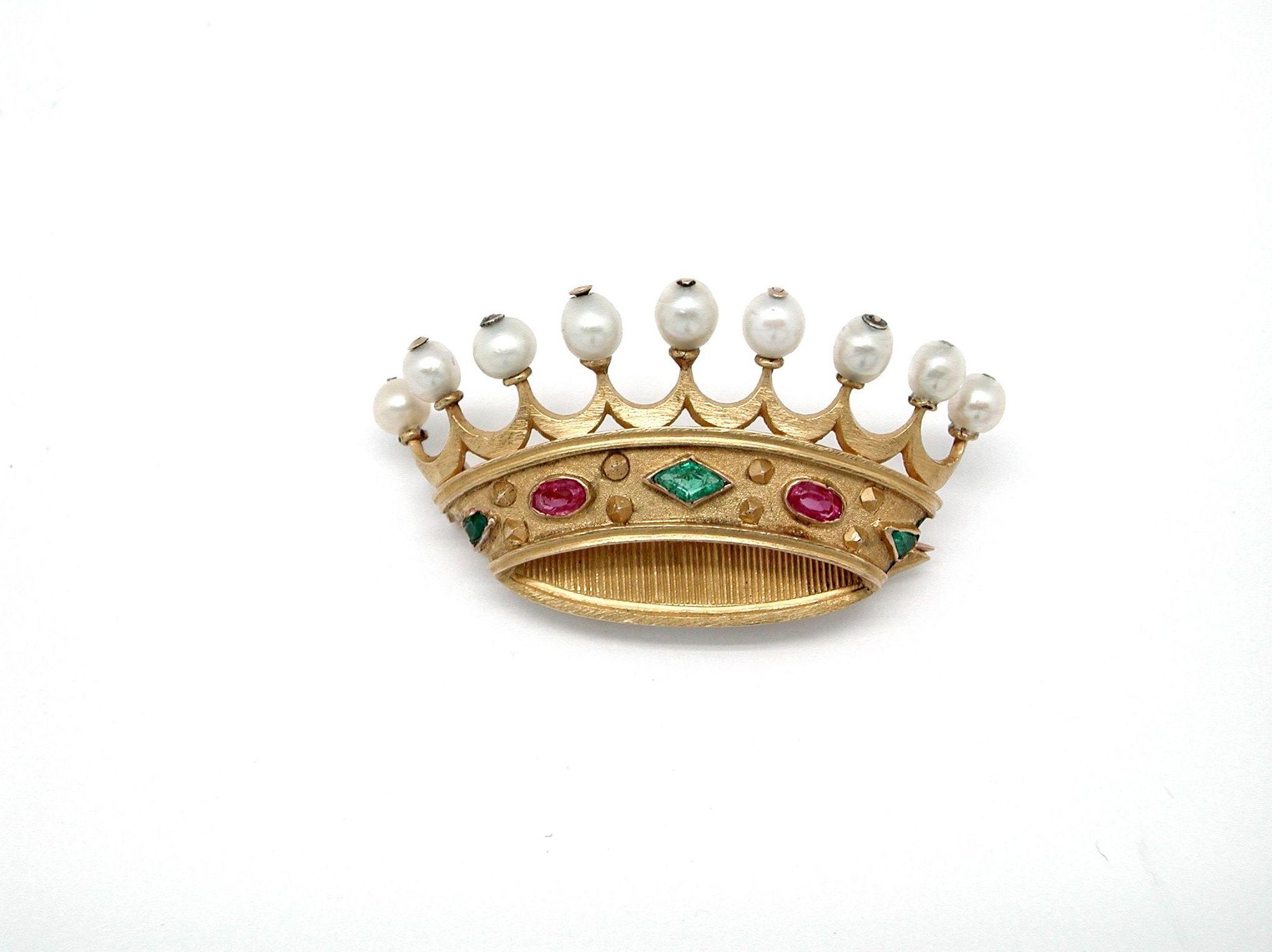 Broche de oro con gemas en forma de corona ducal. S.XIX.: Catálogo de Antigua Joyeros