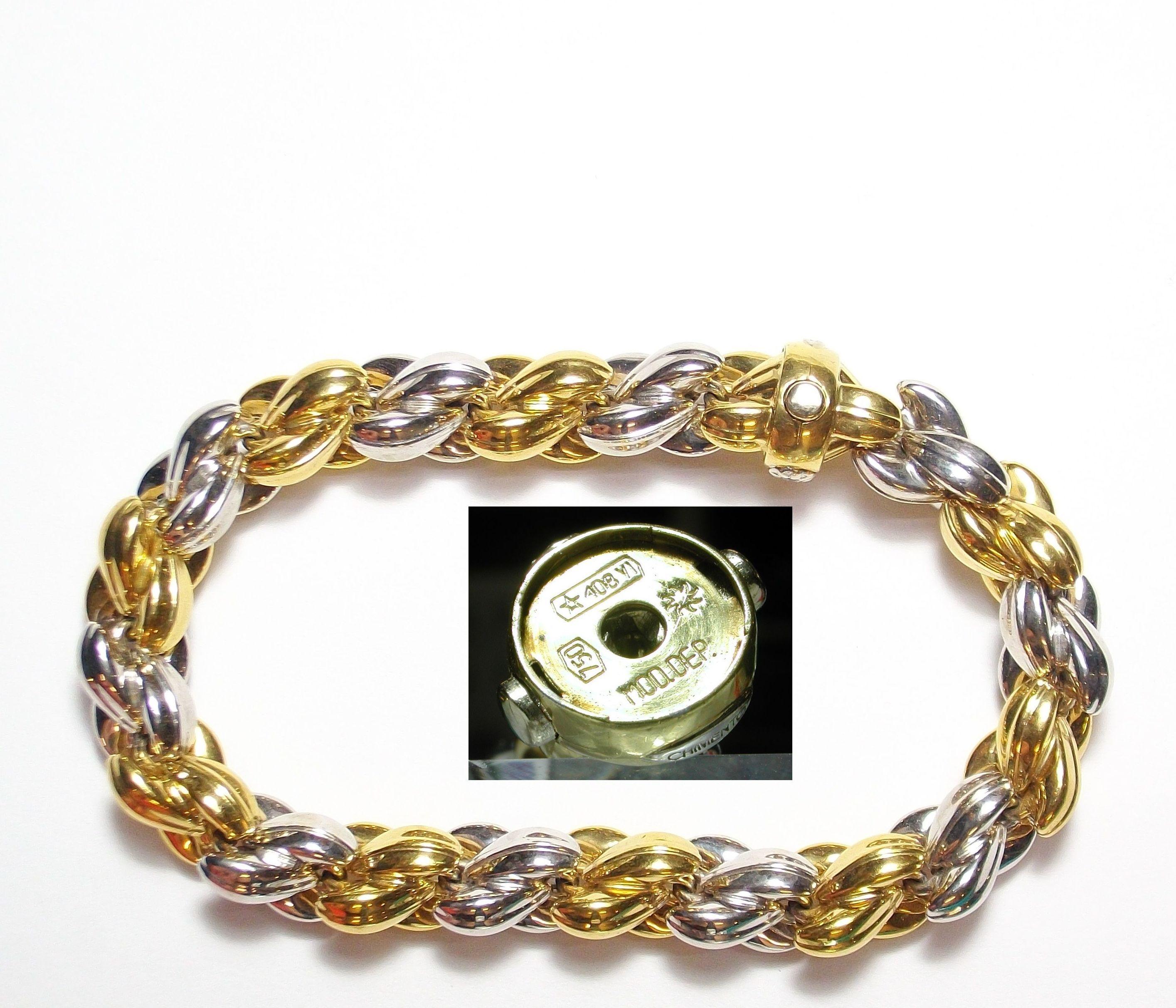 Pulsera de la firma CHIMENTO realizada con piezas y entrepiezas de oro bicolor de 18k.