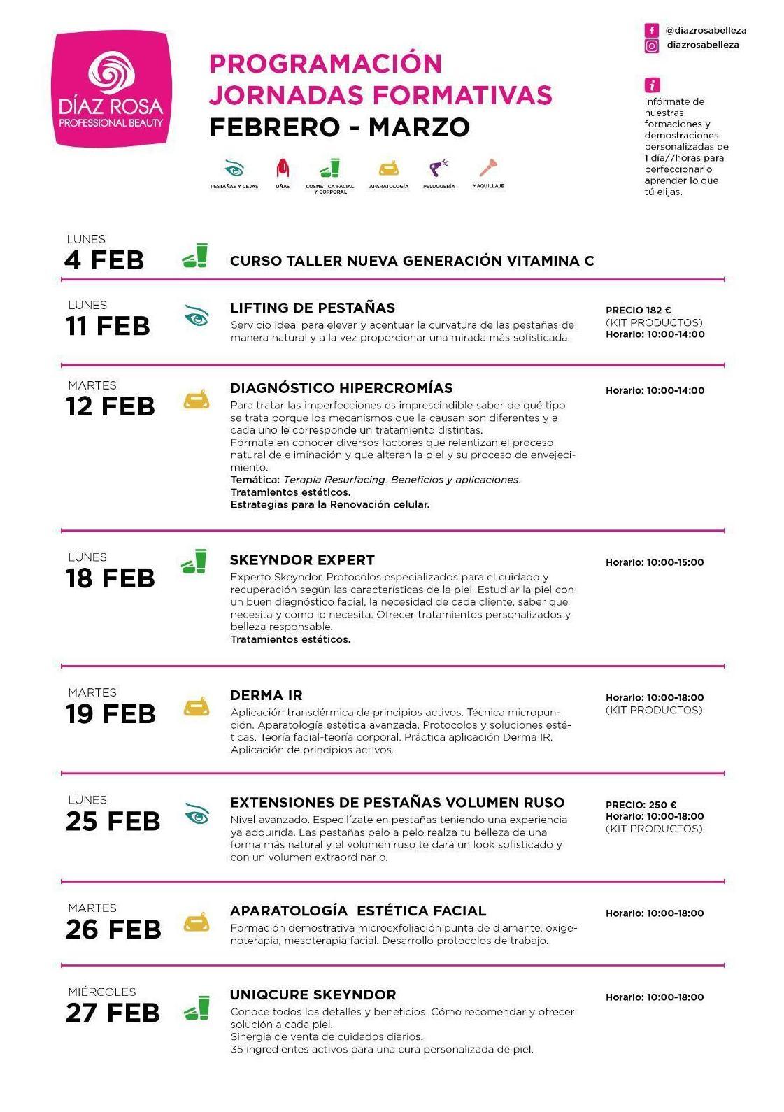 Calendario de formaciones organizadas que tenemos preparadas para Febrero y Marzo
