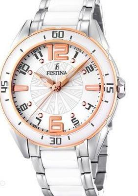 Reloj FESTINA Ceramica Blanco acero rosa.