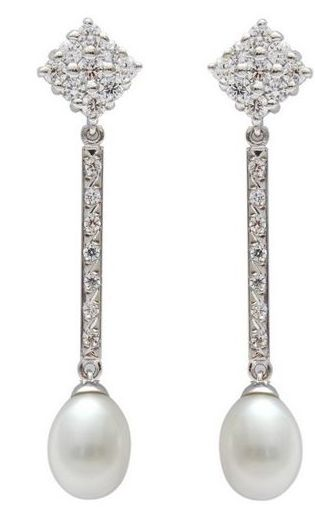 Pendientes Plata Perla Circonitas