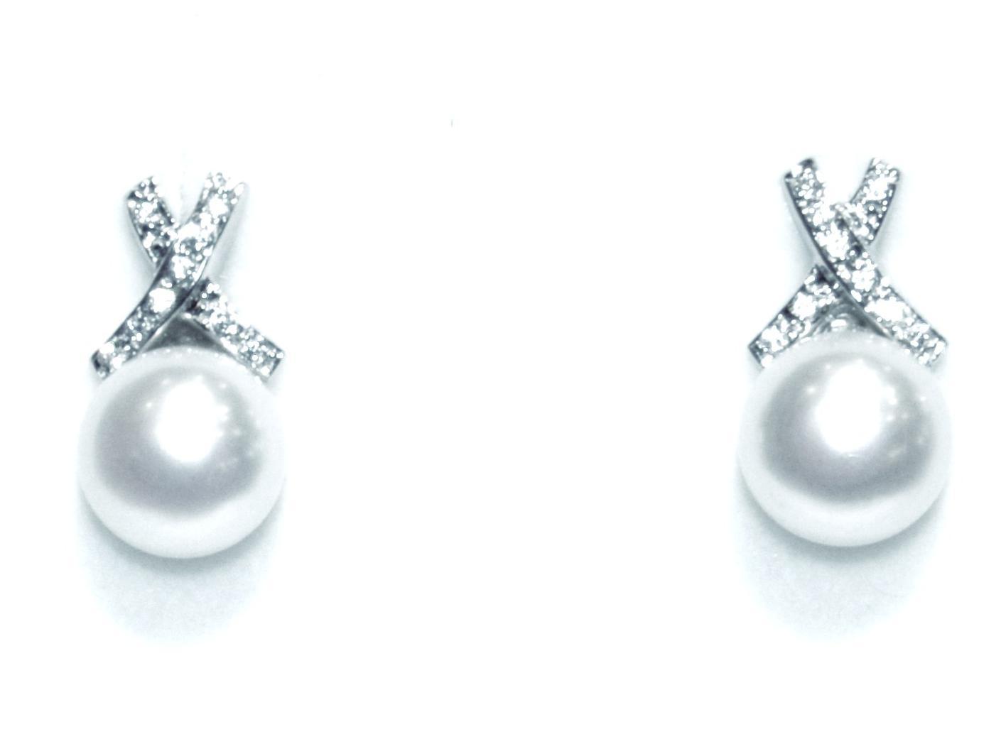 Pendientes Oro Blanco Perla y Circonitas