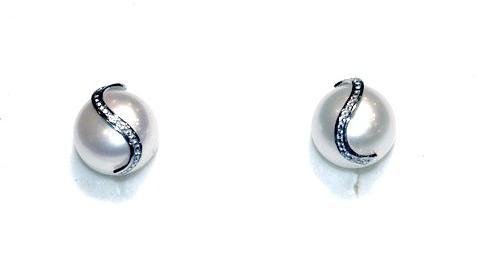 Pendientes Perla y Circonitas Oro Blanco 18K