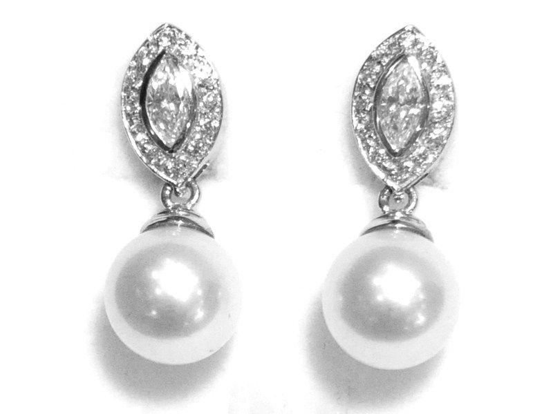 Pendientes Novia Oro Blanco Perla