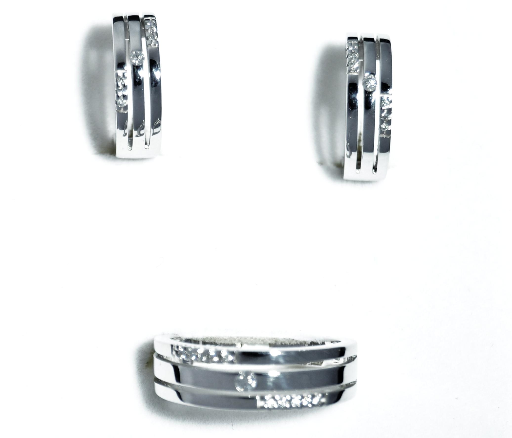 Pendientes y Sortija Oro Blanco 18 K Diamantes