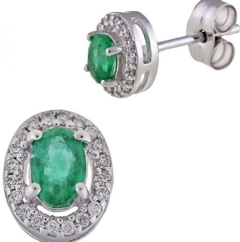 Pendientes Esmeralda y Diamantes