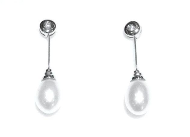 Pendientes Novia Oro Blanco 18 kts ,Diamante y Perla