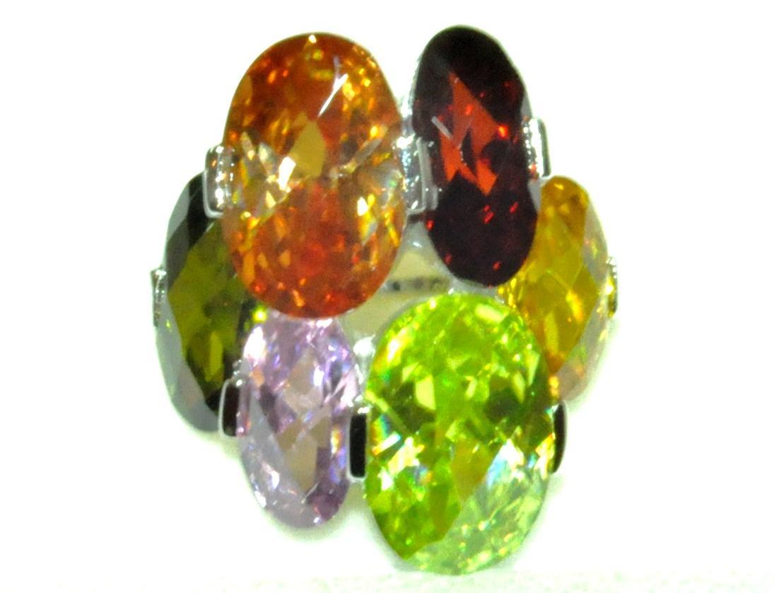 Sortija Plata Primera Ley Piedras Colores , 125€