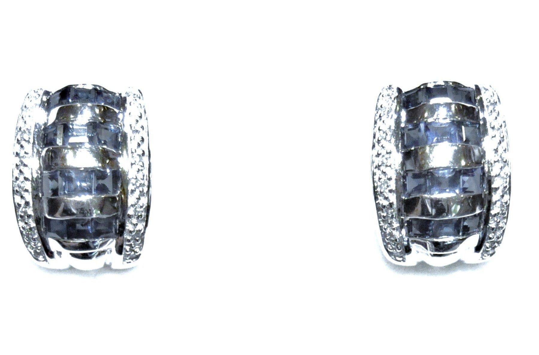 Pendientes Oro Blanco 18 kts y Zafiros y Diamantes