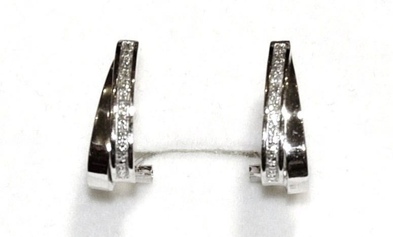 Pendientes Oro Blanco 18 kts y Diamantes .