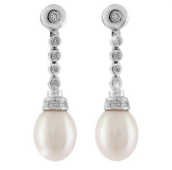 Pendientes Perla Diamantes