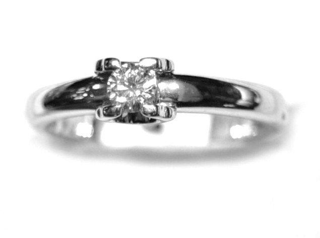 Anillo Solitario Compromiso Oro Blanco Diamante
