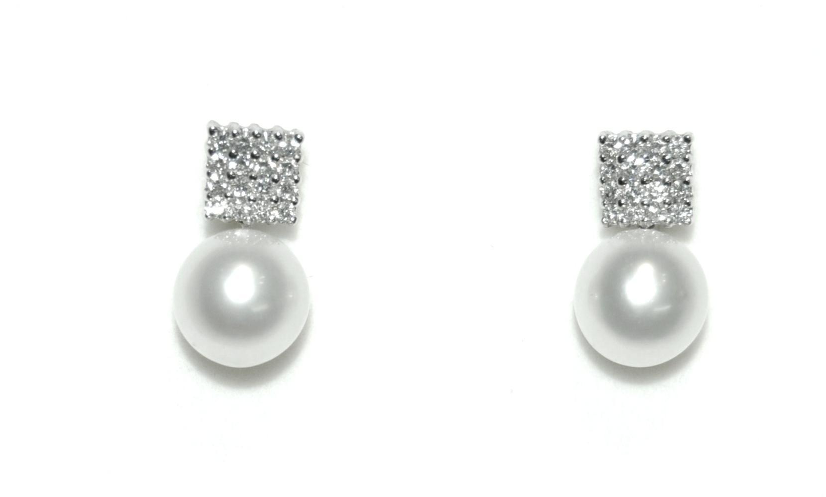 Pendientes Oro Blanco 18 kts y Perla Australiana y Diamantes