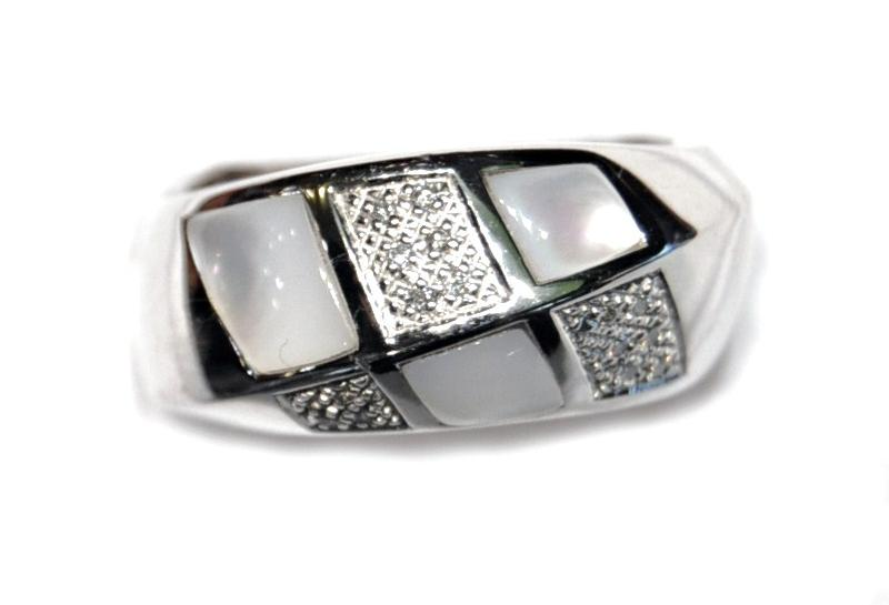 Anillo Oro Blanco Diamantes Nacar