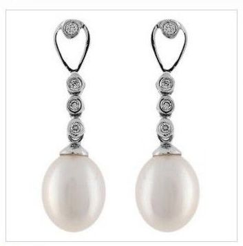 Pendientes Perla Diamante Oro Blanco