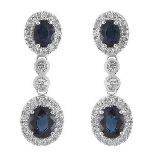 Pendientes Zafiro Azul Diamantes
