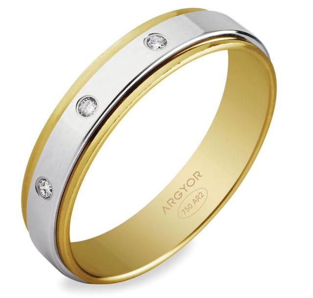 Alianza Boda Oro Bicolor 18 Kts Diamantes