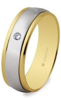 Alianza Boda Oro Bicolor Diamante