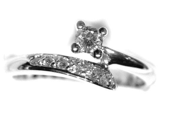 Anillo Compromiso Diamantes Oro Blanco .