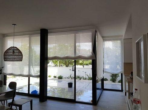 ESTORES SIN VARILLAS VISILLO LINO C/ BLANCO- CONFECCIONADOS POR TAPICERIAS PANIZA
