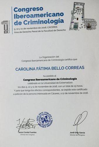 Congreso Iberoamericano de Criminología como garantía de estudios de Doctorado en UMH.