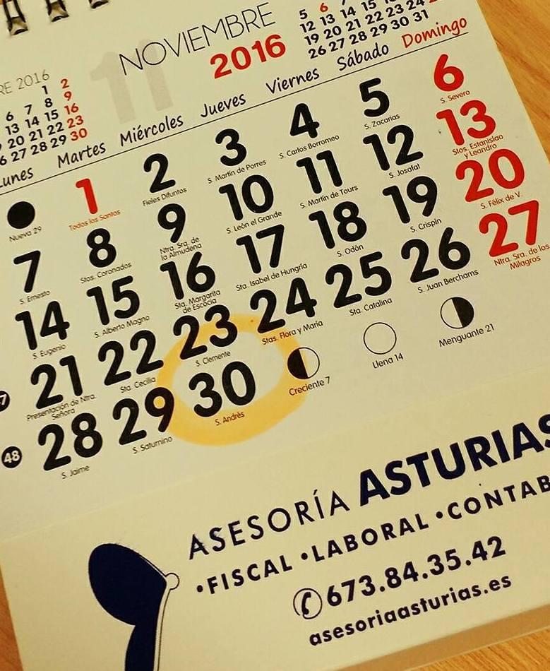 Calendarios 2017 en Asturias