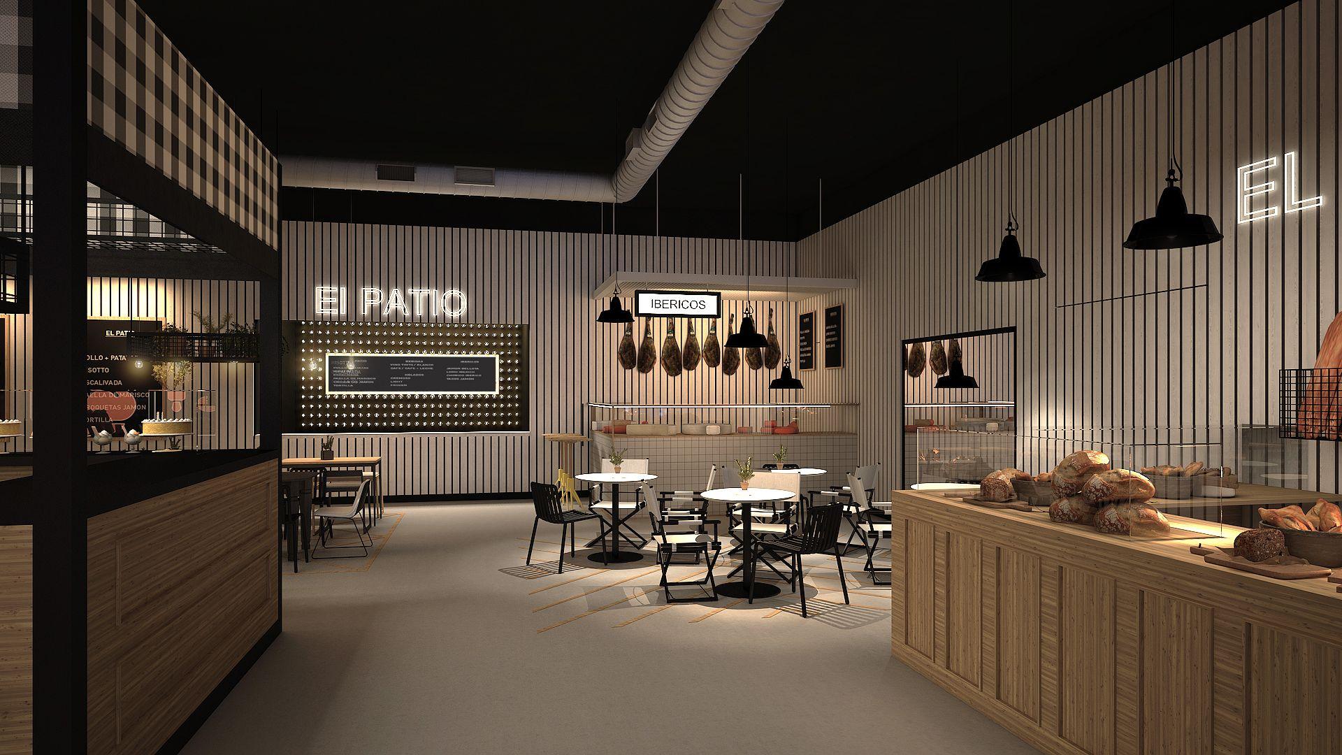 Food Court. Restaurante: Proyectos de Interiorismo Miriam Barrio