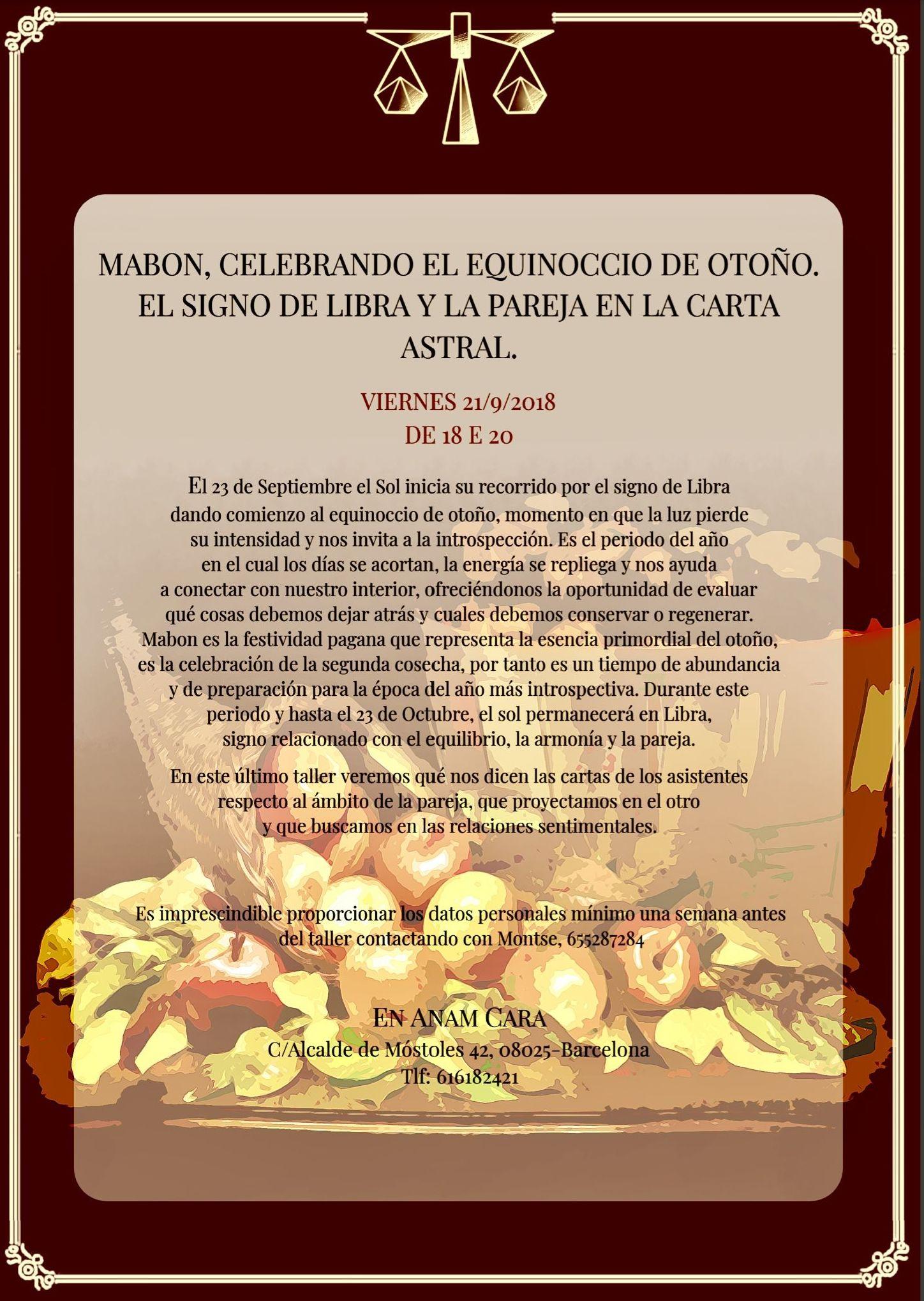MABON, celebrando el equinoccio de otoño. El signo de Libra y la pareja en la carta astral.