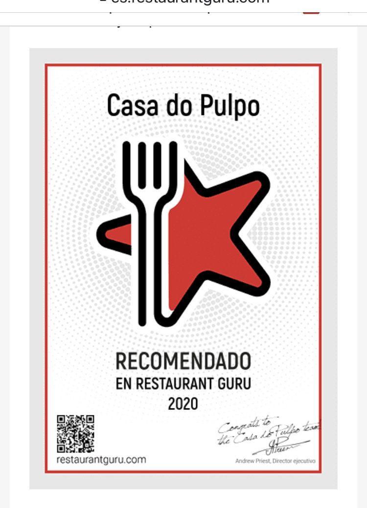 Recomendado por Guru Restaurante 2020  Casa do Pulpo