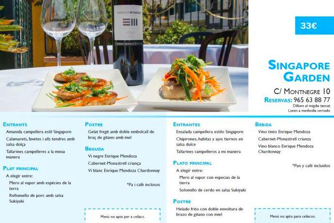 Jornadas gastronómicas Singapore Garden El Campello