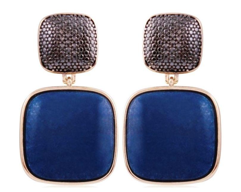 Pendiente bañado en oro y rodio negro con cuarzo : Productos  de Aneis Joyería