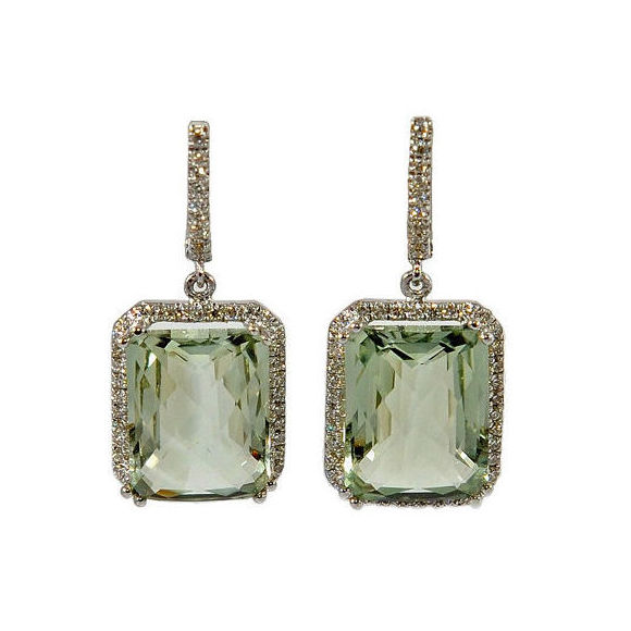 Pendientes oro blanco, brillantes y piedra Amatista Verde