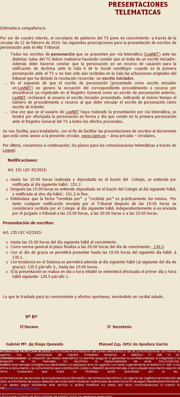Circular del Ilustre Colegio de Procuradores de Madrid