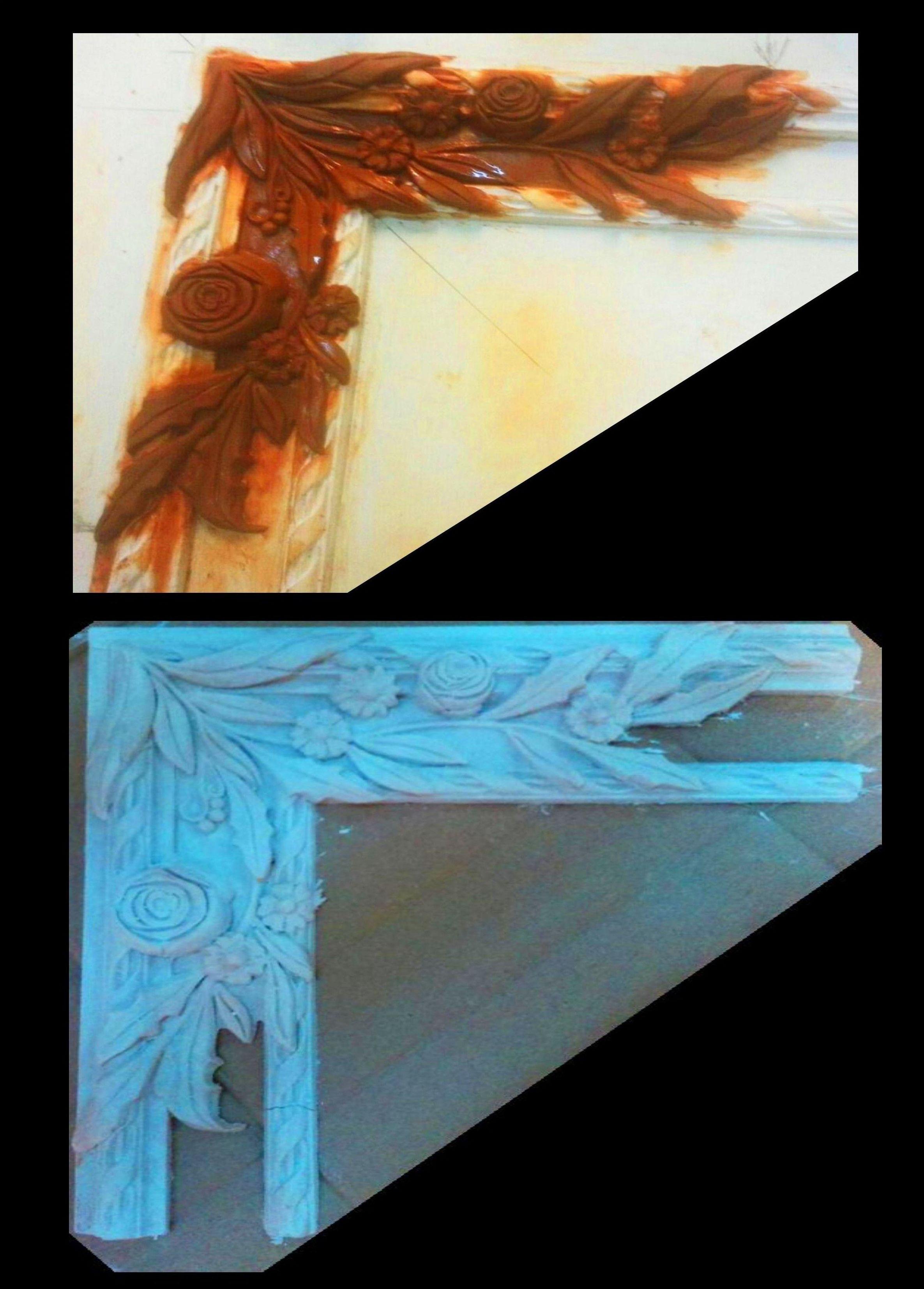 Escuadra realizada en nuestro taller de encargos en arcilla para posteriormente realizar molde y fabricar misma pieza en escayola.