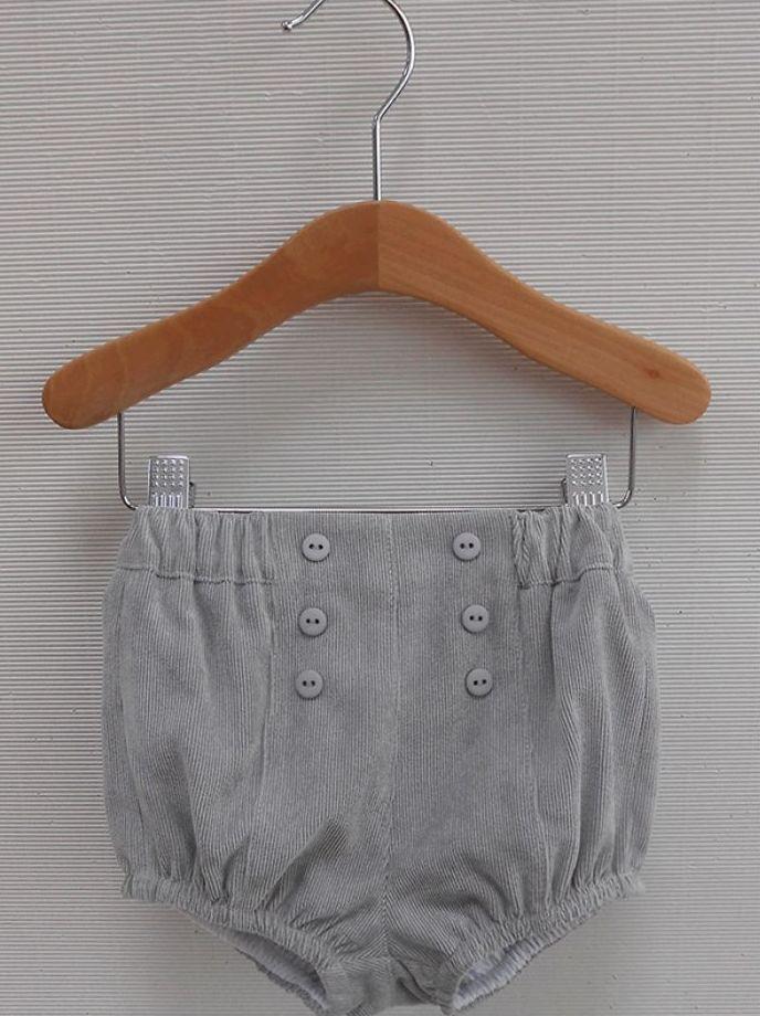 Pantalos pana bombacho gris. Talla; 06m-12m