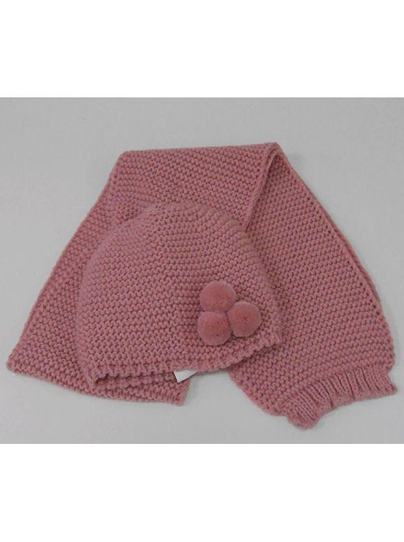 gorro+bufanda 3 pompones colores burdeos,camel,rosa palo talla<  6m-24m-36m